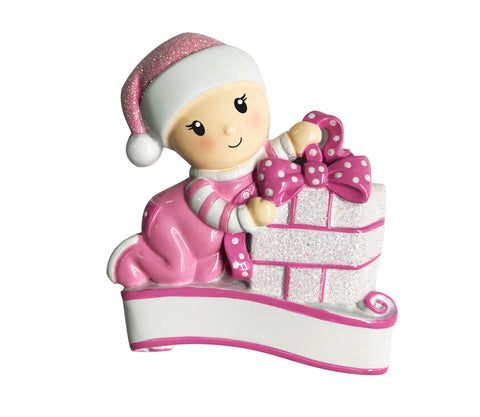 OR1745-P - Baby Opening Presents (Pink) Personalized Christmas Ornament