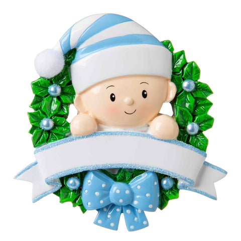 OR1746-B - Baby in a Wreath (Light Blue) Personalized Christmas Ornament