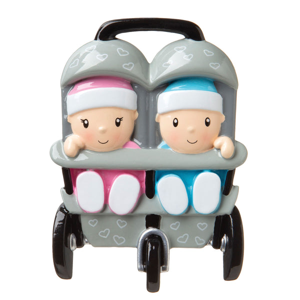 OR1748-A - New Twins in Stroller (4 Boys/4 Girls/4 Boy+Girl) Personalized Christmas Ornament
