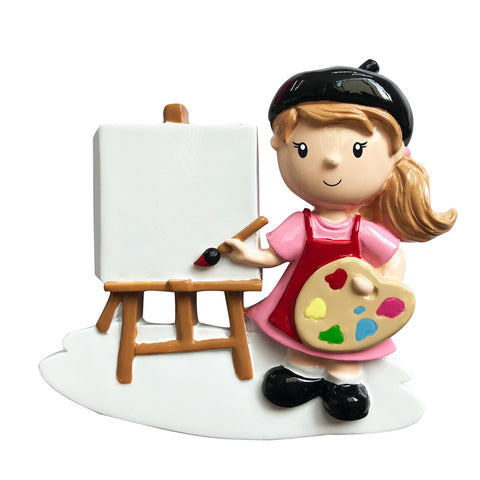 OR1751-G - Girl Artist Personalized Christmas Ornament