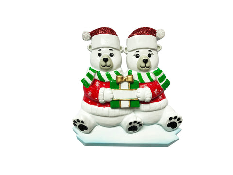 OR1760-2 - Polar Bear Family of 2 Personalized Christmas Ornament
