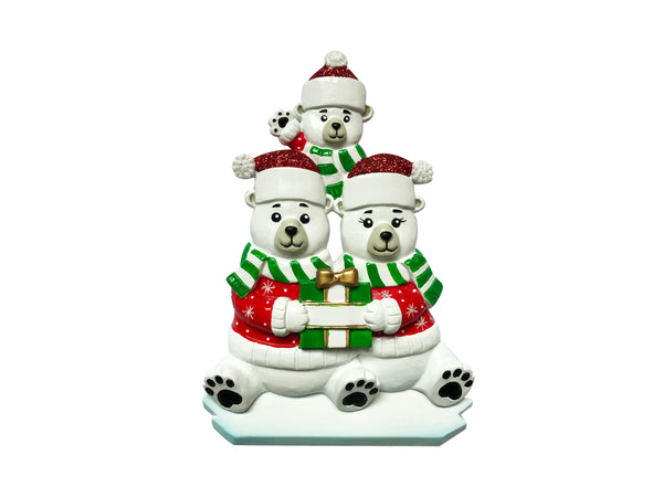 OR1760-3 - Polar Bear Family of 3 Personalized Christmas Ornament