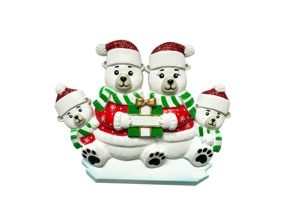 OR1760-4 - Polar Bear Family of 4 Personalized Christmas Ornament