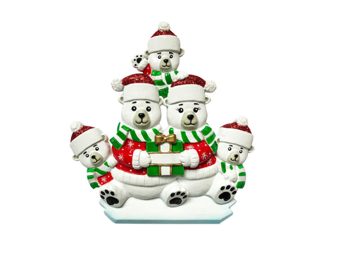 OR1760-5 - Polar Bear Family of 5 Personalized Christmas Ornament