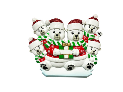 OR1760-6 - Polar Bear Family of 6 Personalized Christmas Ornament