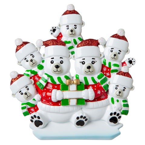 OR1760-7 - Polar Bear Family of 7 Personalized Christmas Ornament