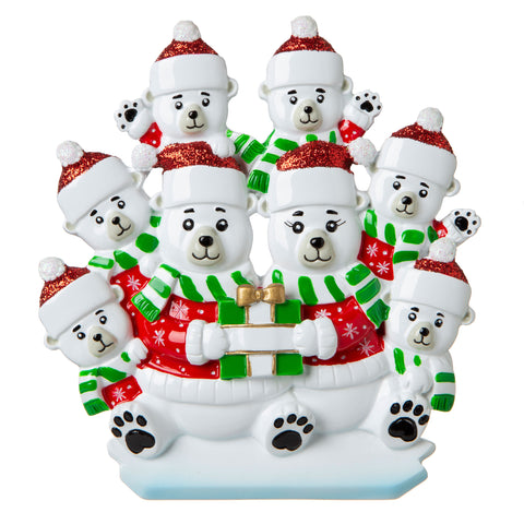 OR1760-8 - Polar Bear Family of 8 Personalized Christmas Ornament