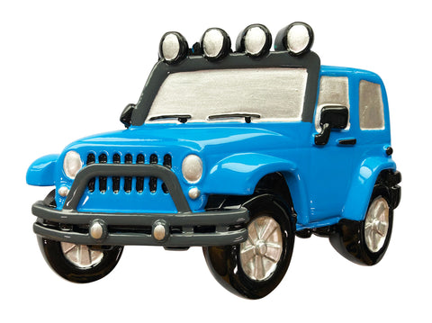 OR1763-BLUE - Jeep 4X4 Personalized Christmas Ornament Blue