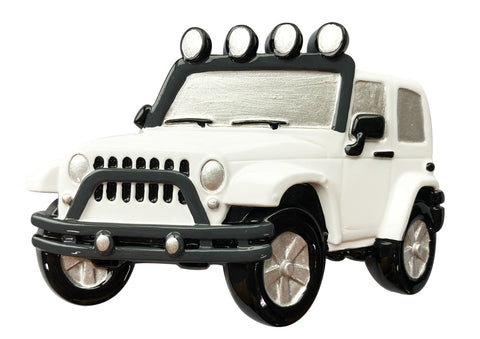 OR1763-WHITE - Jeep 4X4 Personalized Christmas Ornament White