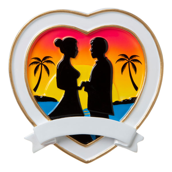 OR1785 - Destination Wedding Bride and Groom Between Palm Trees Personalized Christmas Ornament
