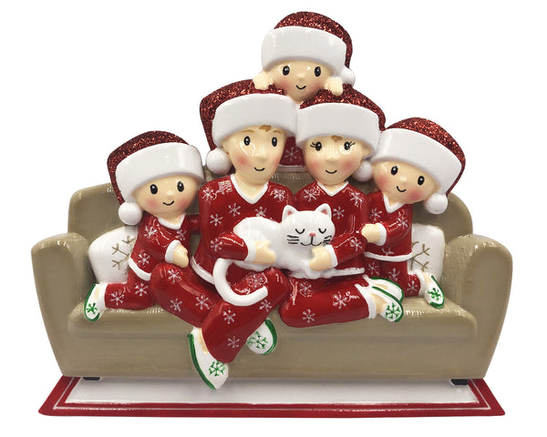 OR1786-5 - Family of 5 w/Cat Personalized Christmas Ornament