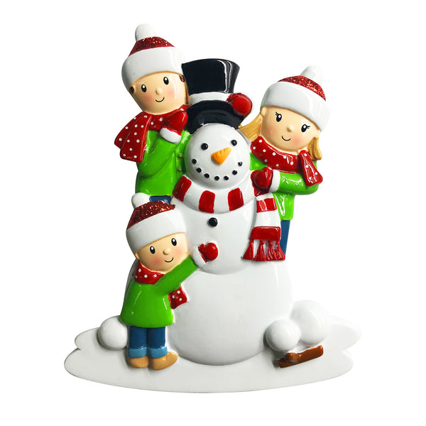 OR1787-3 - Family of 3 Building a Snowman Personalized Christmas Ornament