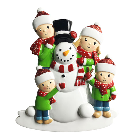 OR1787-4 - Family of 4 Building a Snowman Personalized Christmas Ornament