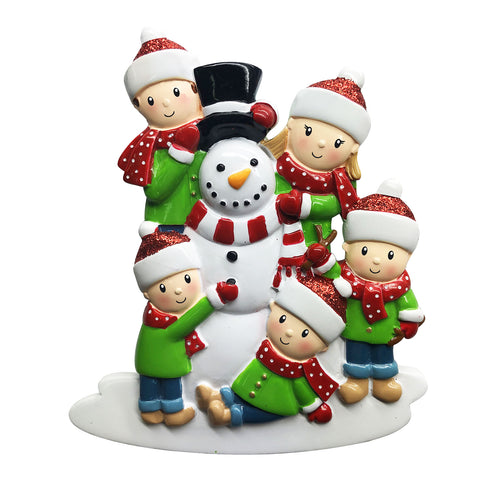 OR1787-5 - Family of 5 Building a Snowman Personalized Christmas Ornament