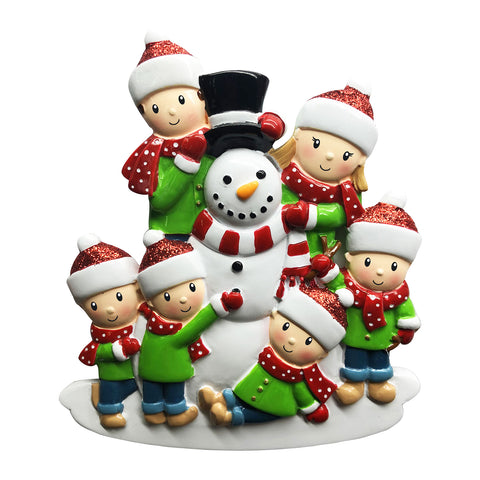 OR1787-6 - Family of 6 Building a Snowman Personalized Christmas Ornament