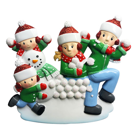 OR1788-4 - Family of 4 in Snowball Fight Personalized Christmas Ornament