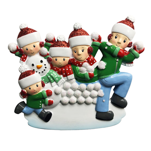 OR1788-5 - Family of 5 in Snowball Fight Personalized Christmas Ornament