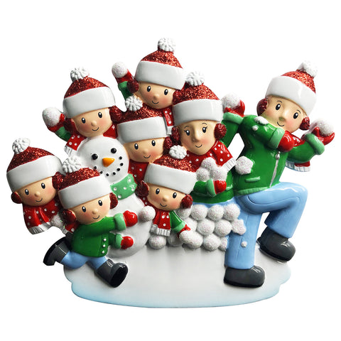 OR1788-8 - Family of 8 in Snowball Fight Personalized Christmas Ornament