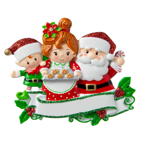 OR1790-3 - Santa & Mrs Claus with 1 Child Personalized Christmas Ornament