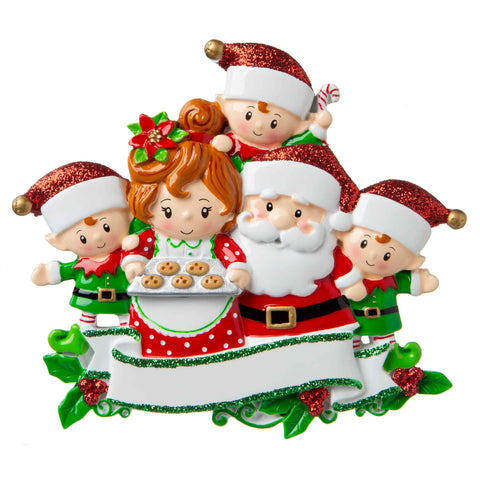 OR1790-5 - Santa & Mrs Claus with 3 Children Personalized Christmas Ornament