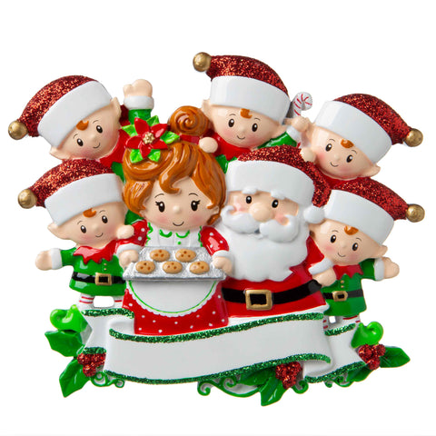 OR1790-7 - Santa & Mrs Claus with 5 Children Personalized Christmas Ornament