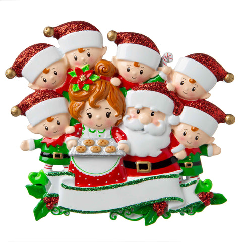 OR1790-8 - Santa & Mrs Claus with 6 Children Personalized Christmas Ornament