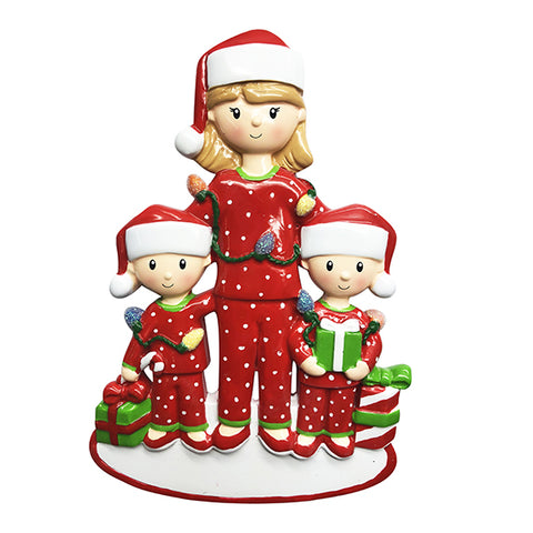 OR1792-2 - Single Mom with 2 Children Personalized Christmas Ornament