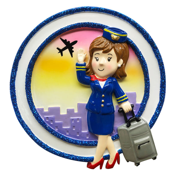 OR1809-F - Flight Attendant (Female) Personalized Christmas Ornament
