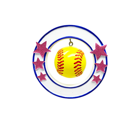 OR1825 - 3D Softball Personalized Christmas Ornament