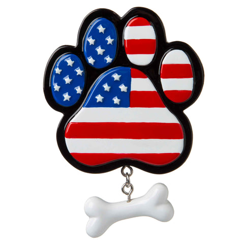 OR1843-R - Patriotic Paw Print Personalized Christmas Ornament