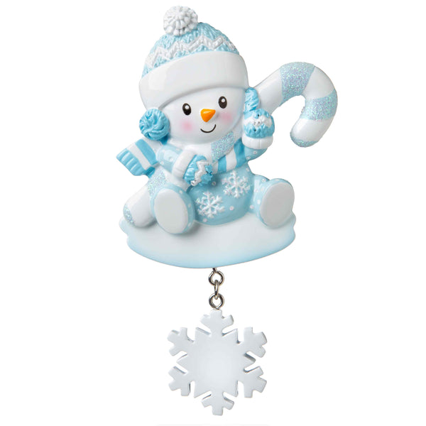 OR1846-B - Snowbaby with Candy Cane (Blue) Personalized Christmas Ornament