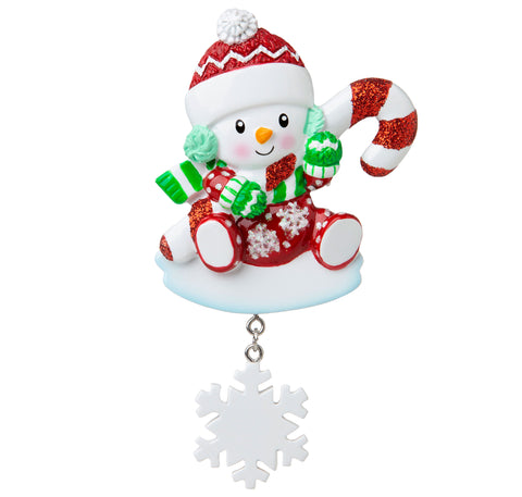 OR1846-RG - Snowbaby with Candy Cane (Red & Green) Personalized Christmas Ornament