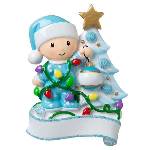 OR1847-B - Baby Decorating a Tree (Light Blue) Personalized Christmas Ornament