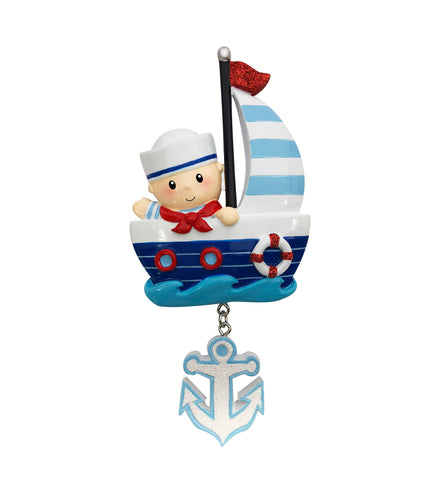OR1848-B - Sailor Baby (Boy) Personalized Christmas Ornament