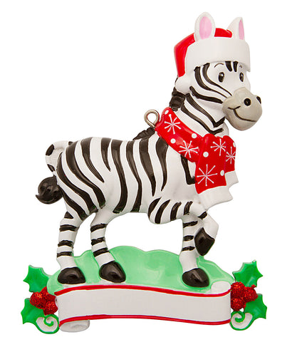 OR1850-ZEBRA - Zebra (Zoo Animals) Personalized Christmas Ornament