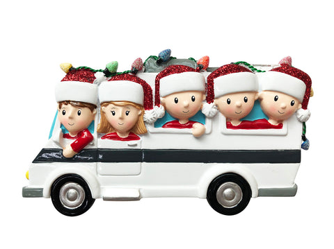 OR1855-5 - RV Family of 5 Personalized Christmas Ornament