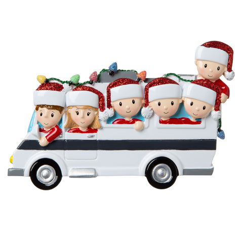 OR1855-6 - RV Family of 6 Personalized Christmas Ornament