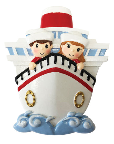 OR1867-2 - Family of 2 On A Cruise Ship Personalized Christmas Ornament