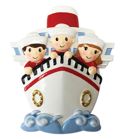 OR1867-3 - Family of 3 On A Cruise Ship Personalized Christmas Ornament