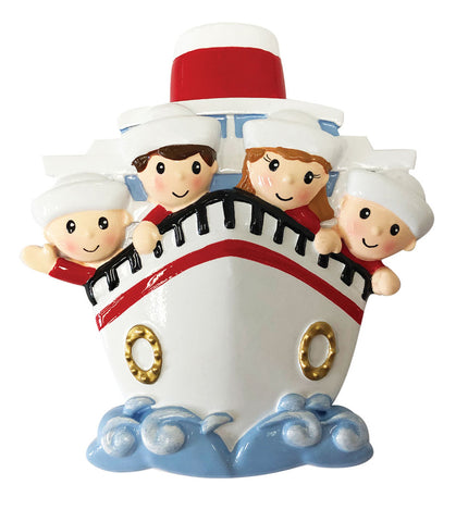 OR1867-4 - Family of 4 On A Cruise Ship Personalized Christmas Ornament