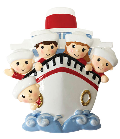 OR1867-5 - Family of 5 On A Cruise Ship Personalized Christmas Ornament