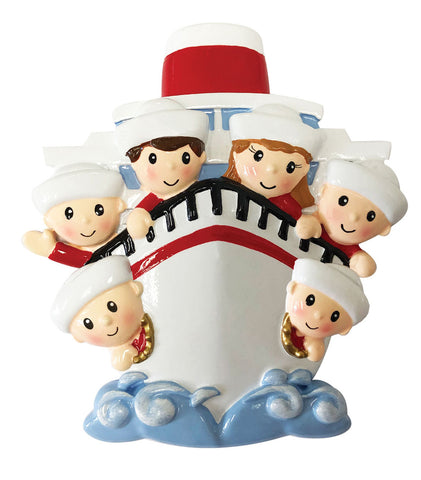 OR1867-6 - Family of 6 On A Cruise Ship Personalized Christmas Ornament