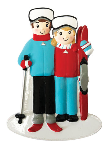 OR1868-2 - Ski Family of 2 Personalized Christmas Ornament
