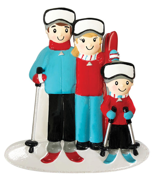 OR1868-3 - Ski Family of 3 Personalized Christmas Ornament
