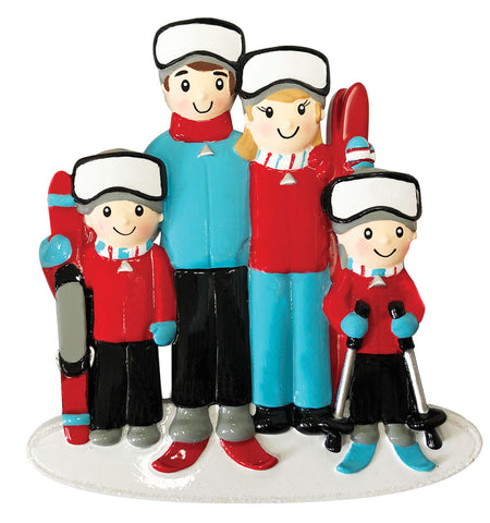 OR1868-4 - Ski Family of 4 Personalized Christmas Ornament