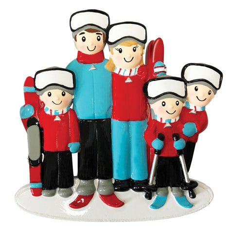 OR1868-5 - Ski Family of 5 Personalized Christmas Ornament
