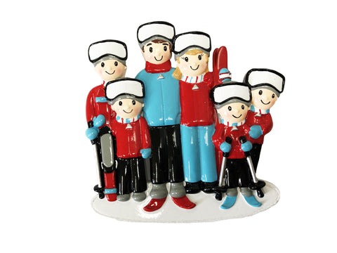 OR1868-6 - Ski Family of 6 Personalized Christmas Ornament