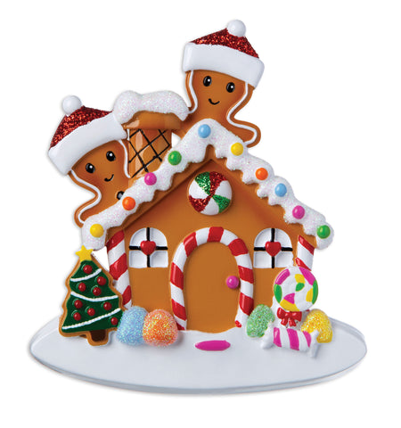 OR1872-2 - Gingerbread House Couple Personalized Christmas Ornament