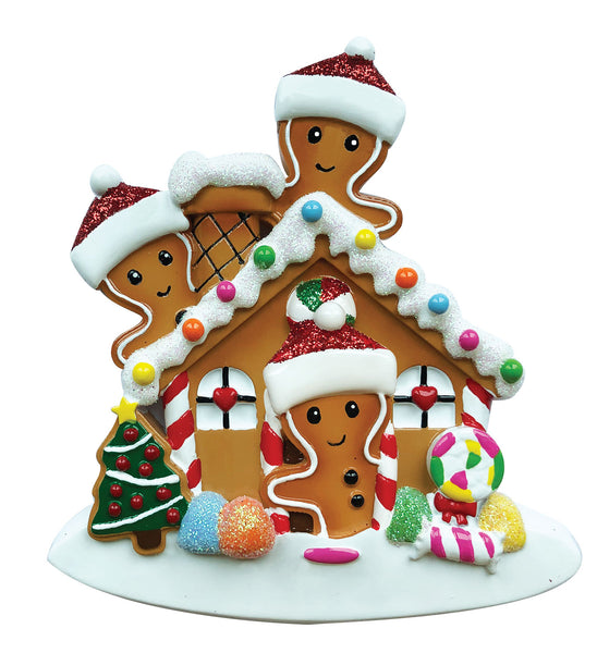 OR1872-3 - Gingerbread House Family of 3 Personalized Christmas Ornament