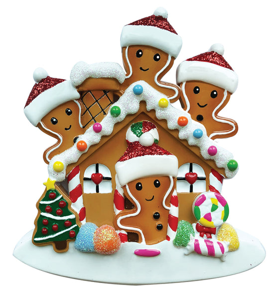 OR1872-4 - Gingerbread House Family of 4 Personalized Christmas Ornament